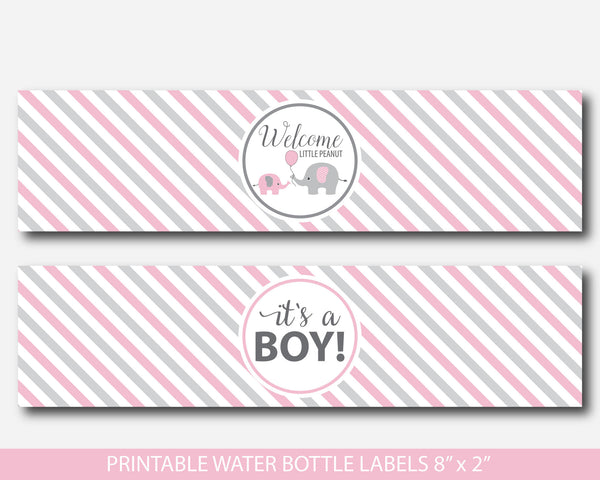 Pink elephant water bottle labels, Baby shower water bottle wraps, Little peanut water bottle drinking label, BE3-18