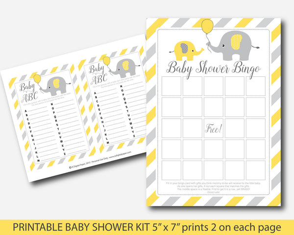 Yellow elephant baby shower games kit, Yellow baby shower activity pack, BE5-01