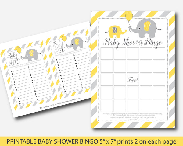 Yellow elephant baby shower bingo cards, Yellow bingo cards, Elephant bingo game, BE5-02