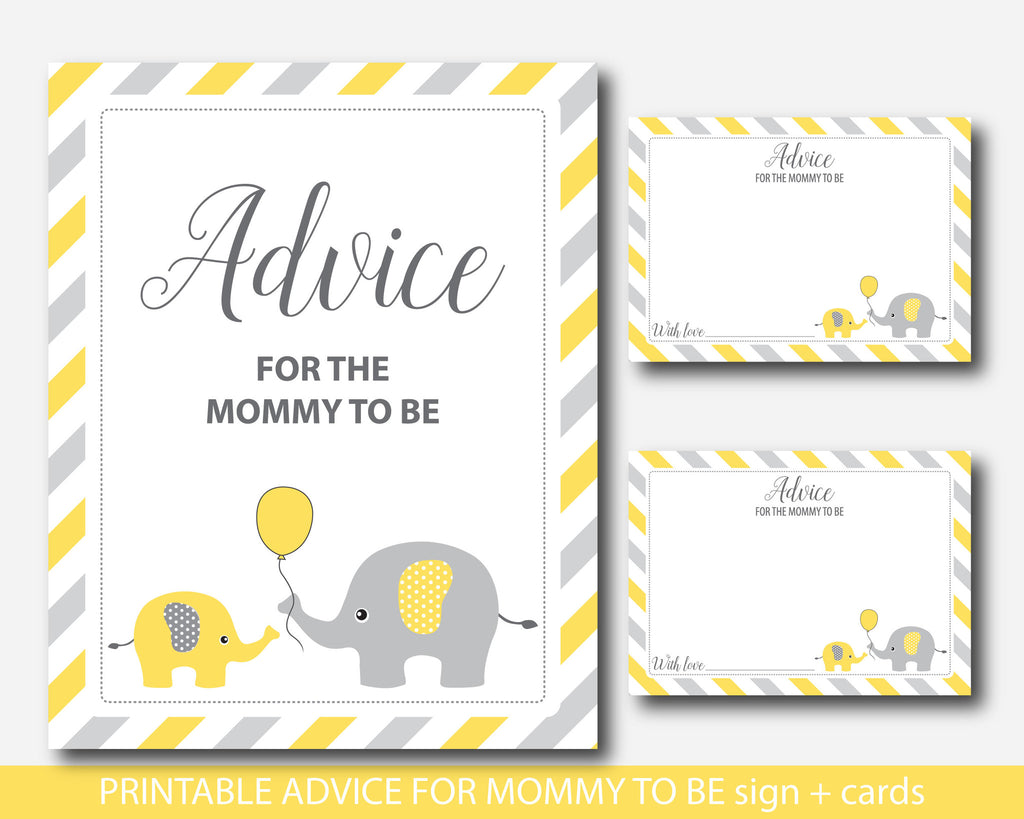 yellow elephant baby shower advice for the new mom to be well wishes js digital paper. Black Bedroom Furniture Sets. Home Design Ideas