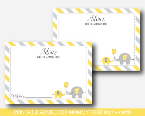 Yellow elephant baby shower advice for the new mom to be, Well wishes for mom, Baby advice game, BE5-09
