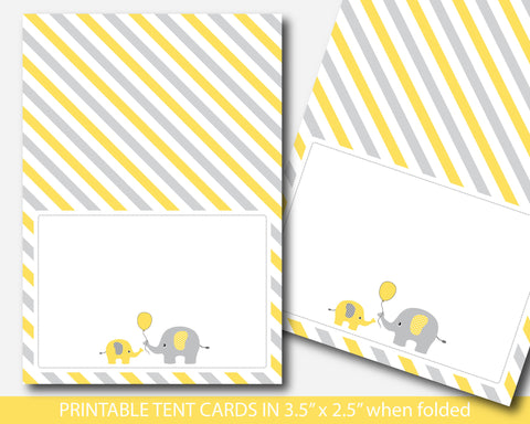 Yellow elephant baby shower food tent labels, Elephant buffet cards, Baby shower place cards, BE5-10