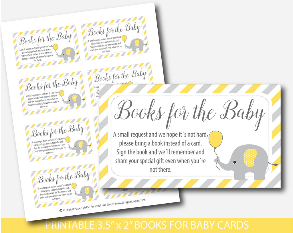... Yellow Elephant Baby Shower Bring A Book Instead Of A Card Inserts,  Yellow Elephant Books