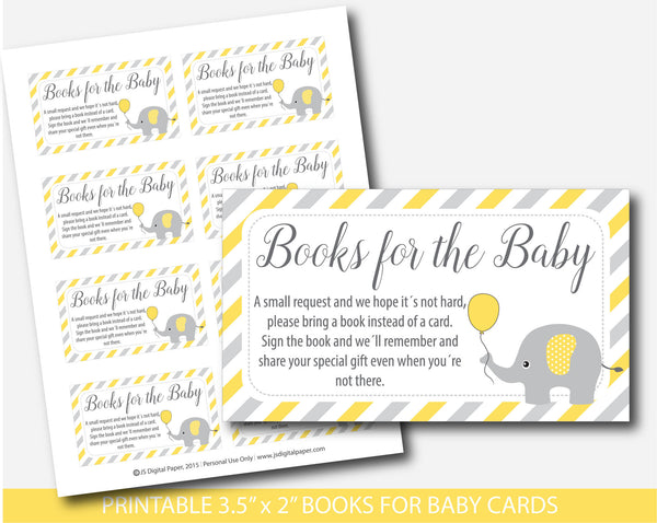Yellow elephant baby shower bring a book instead of a card inserts, Yellow elephant books for the baby cards, Yellow book request, BE5-14