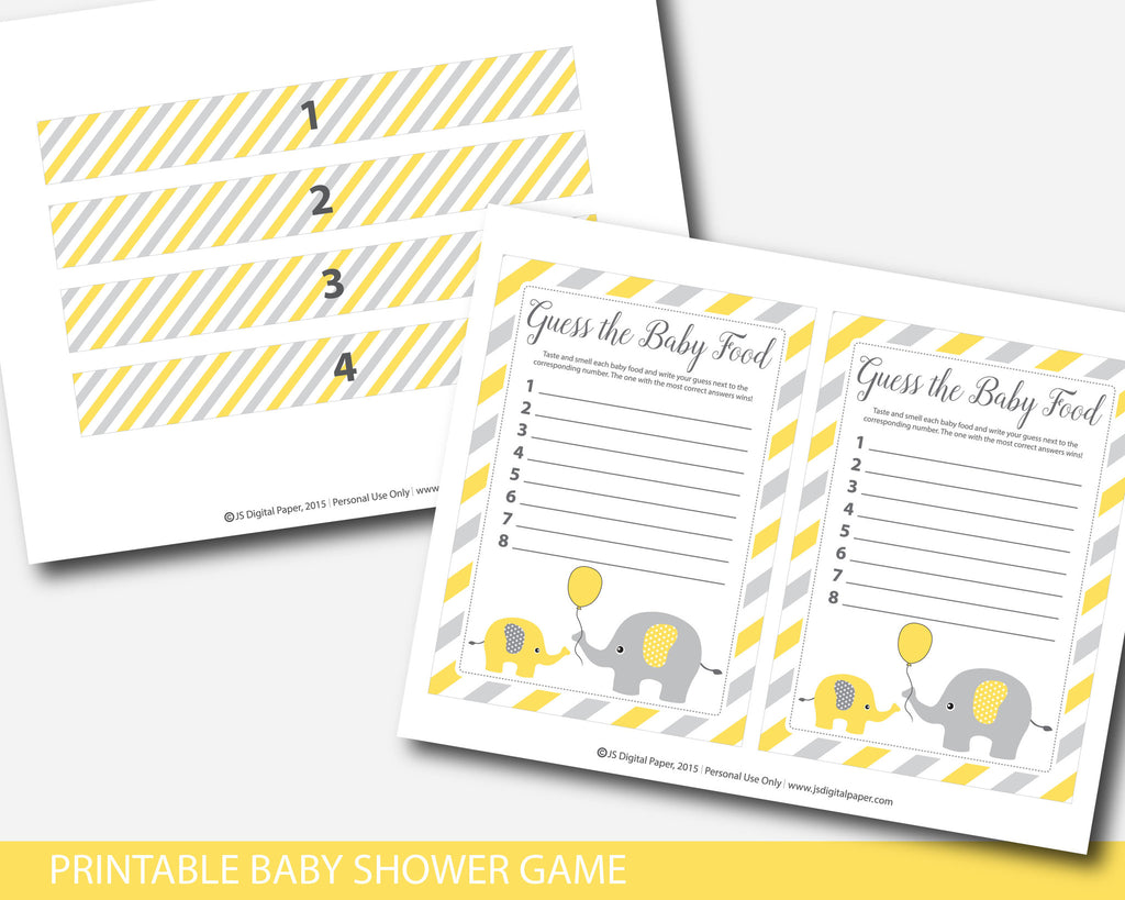 ... Yellow Elephant Baby Food Game, Guess The Baby Food Game, Baby Shower  Food Guessing