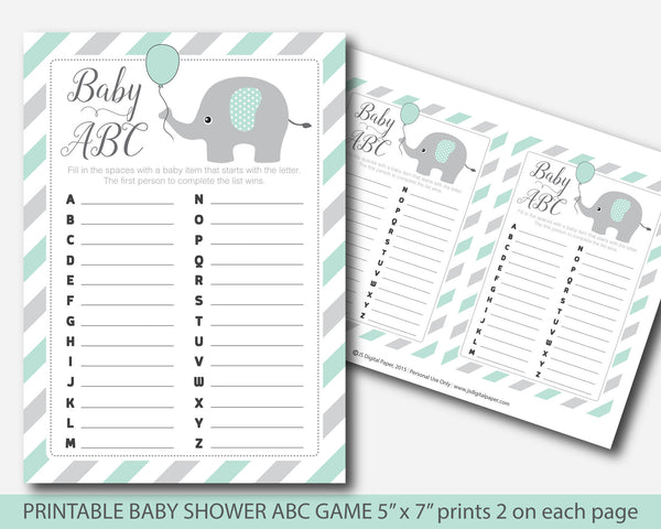Mint elephant baby shower ABC game, Mint green baby ABCs printable game, Mint baby shower ABCs, BE6-04