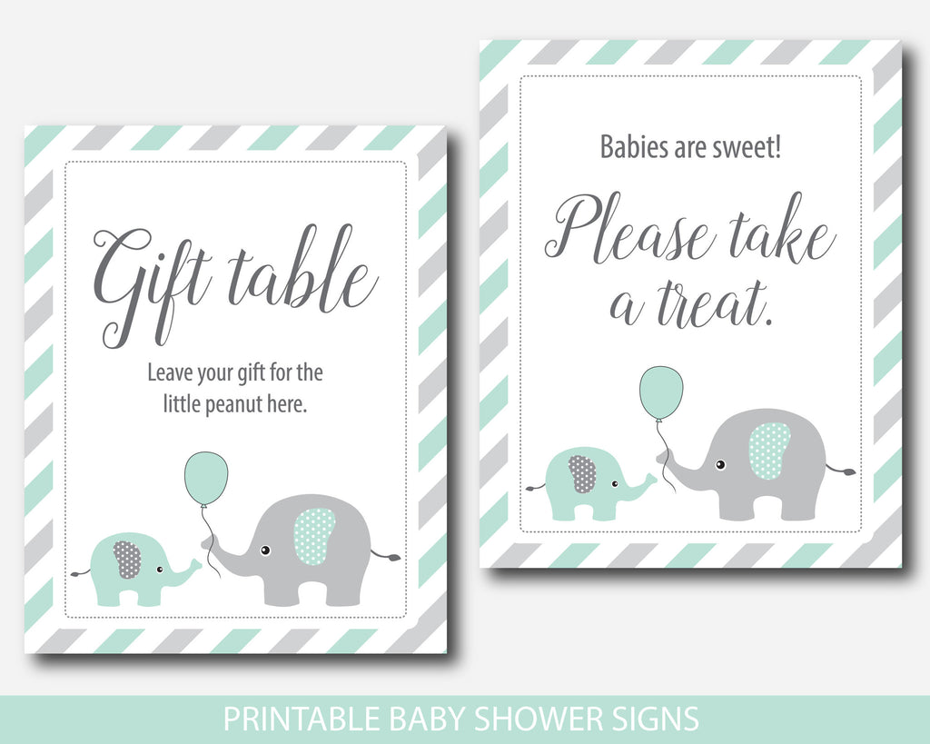 Beautiful ... Mint Baby Shower Table Signs Bundle, Mint Green Baby Shower  Decorations, BE6 07 ...
