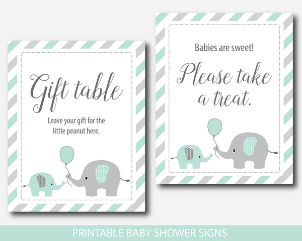 Mint baby shower table signs bundle, Mint green baby shower decorations, BE6-07