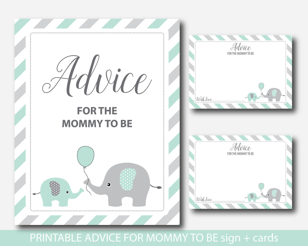 Mint elephant advice for mommy to be cards with sign, Elephant baby shower advice cards, Baby advice game, BE6-09