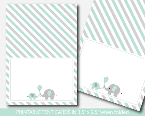 Mint green elephant baby shower food labels, Elephant buffet labels, Mint green food tent cards, BE6-10