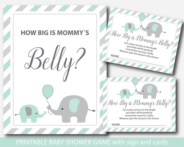 Mint elephant how big is mommy´s belly game, Mint green baby shower belly guessing game, BE6-13