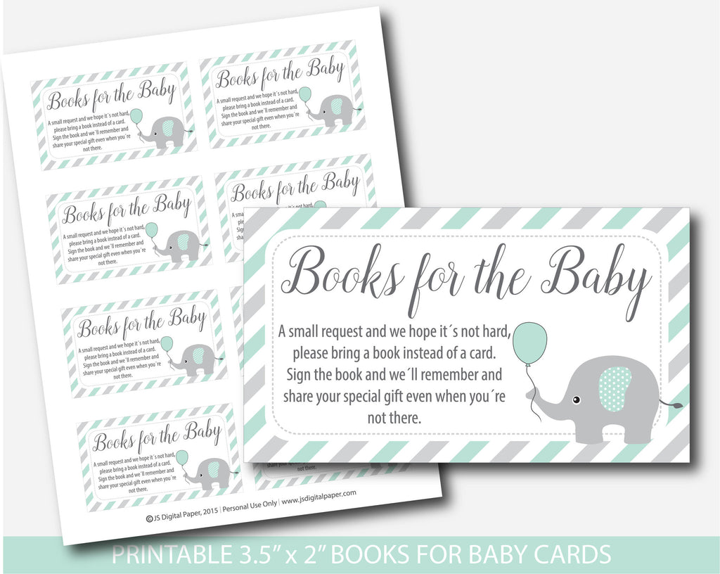 ... Mint Baby Shower Bring A Book Instead Of A Card Inserts, Mint Green  Elephant Books