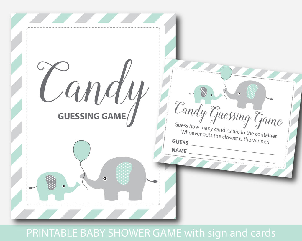 Mint Baby Shower Candy Guessing Game, Peanut Mu0026Ms Guessing Game, Mint Green  Elephant Candies