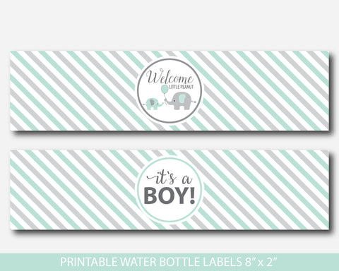 Mint green elephant water bottle labels, Mint green baby shower water bottle wraps, Little peanut water drink label, BE6-18
