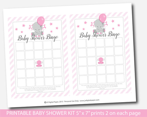 Elephant baby shower game bundle with five games, Bingo, Word scramble, ABCs The price is right and What´s in your purse, BE7-01