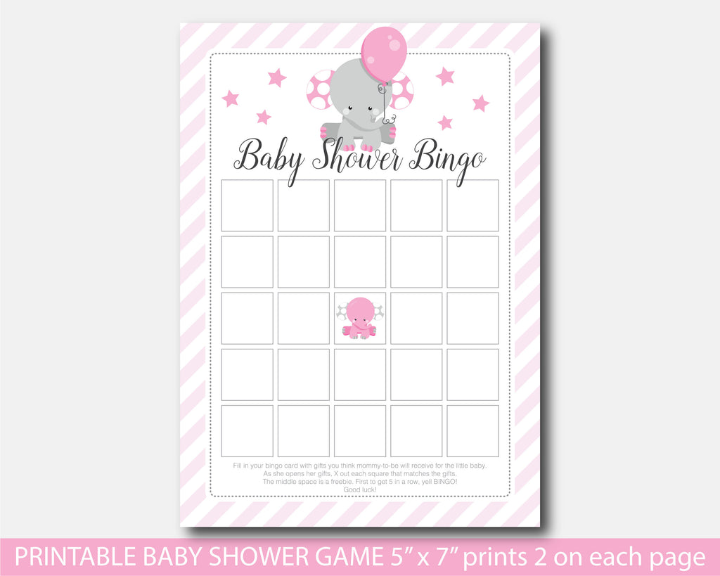 Printable Elephant Baby Shower Bingo Game Be7 02 Js Digital Paper