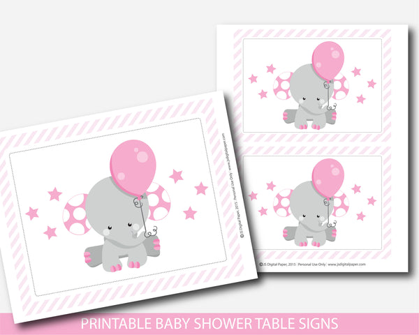 Elephant baby shower table signs and decorations, BE7-07