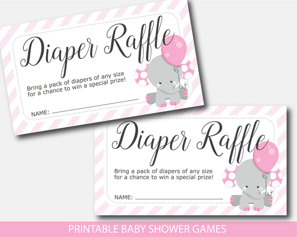 Elephant baby shower diaper raffle with cards and sign, BE7-08
