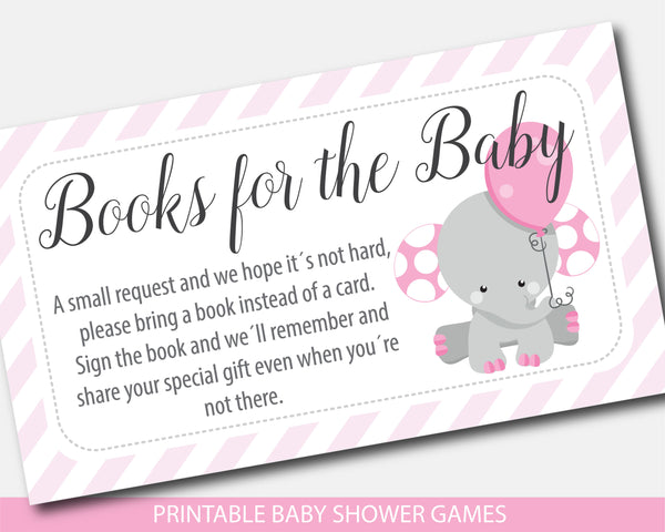 Elephant baby shower books for the baby invitation inserts, BE7-09