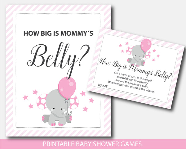 Elephant baby shower how big is mommy´s belly game, BE7-12