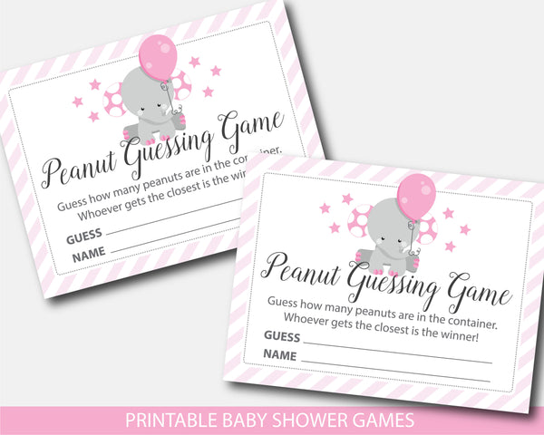 Elephant baby shower peanut guessing game, BE7-14