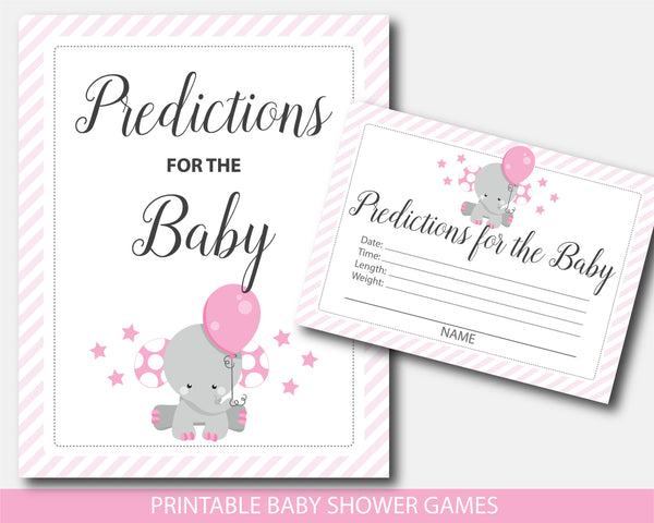 Elephant baby shower predictions for the baby with cards and sign, BE7-15