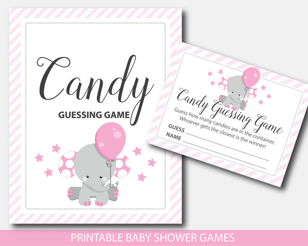Elephant baby shower candy guessing game, BE7-16