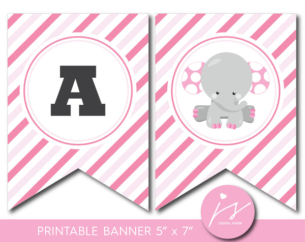 Elephant baby shower and birthday bunting banner, BE7-19