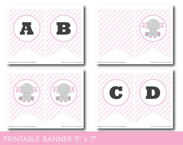 Elephant baby shower and birthday banner with baby pink stripes, BE7-20