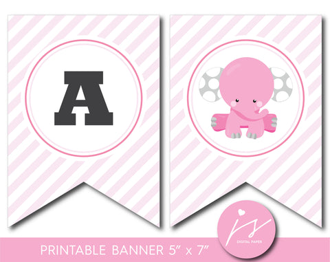 Baby shower banner with cute pink elephant, BE7-22