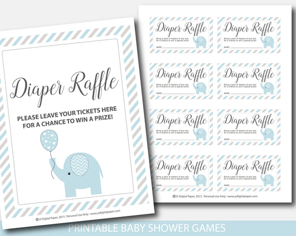 Blue and gray elephant baby shower diaper raffle with cards and sign, BE8-08