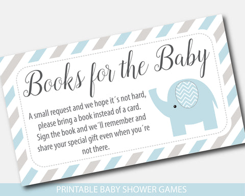 Blue and gray elephant baby shower books for the baby invitation inserts, BE8-09