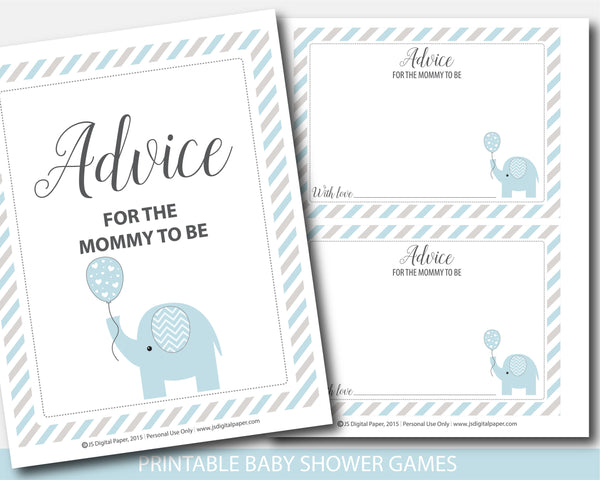 Blue and gray elephant baby shower advice for the mommy to be cards and sign, BE8-10