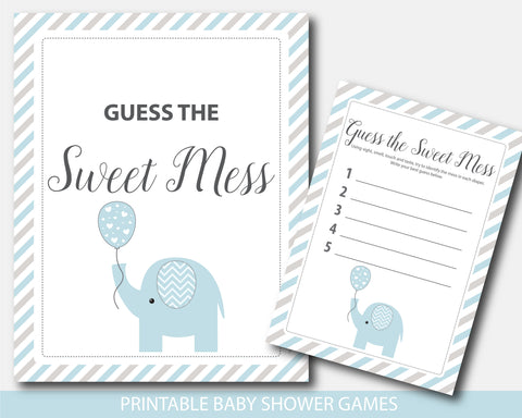 Blue and gray elephant baby shower guess the sweet mess game, BE8-11