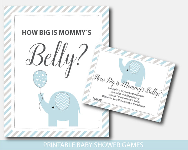 Blue and gray elephant baby shower how big is mommy´s belly game, BE8-12