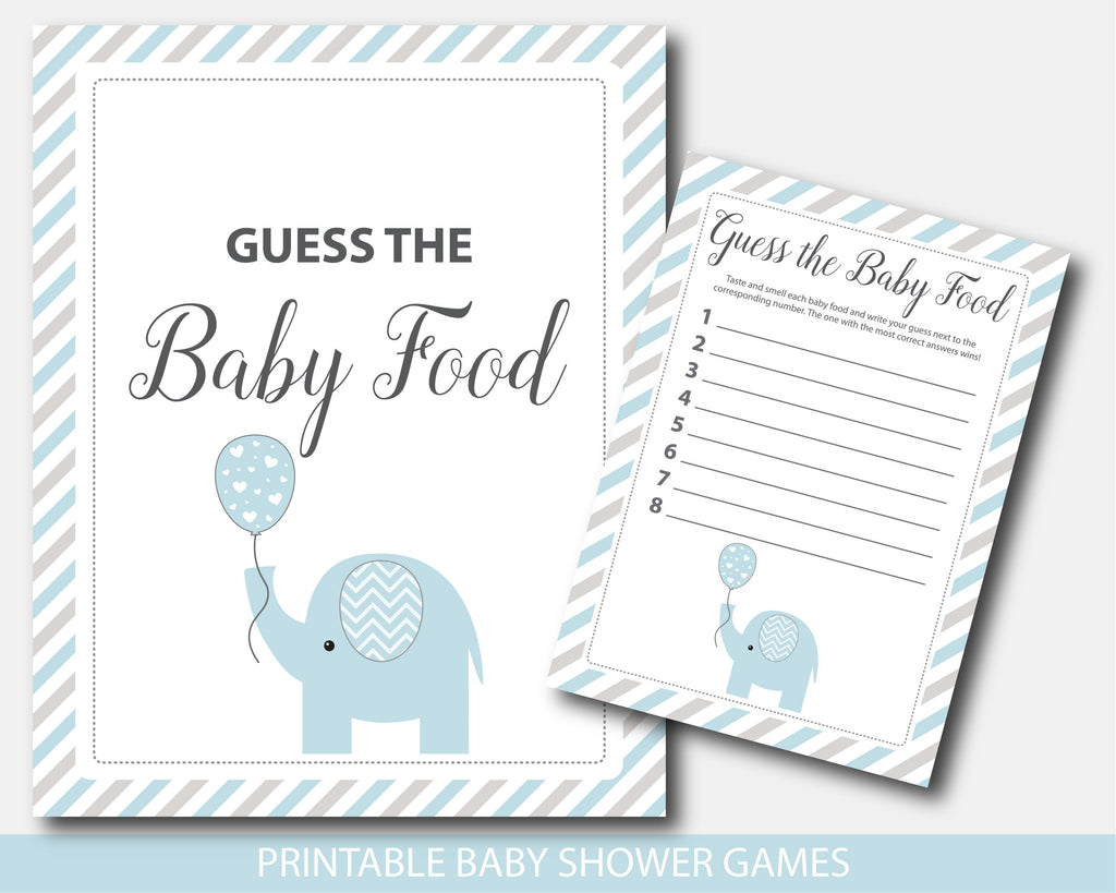Blue and gray elephant baby shower guess the baby food game, BE8-13