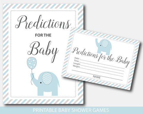 Blue and gray elephant baby shower predictions for the baby with cards and sign, BE8-15