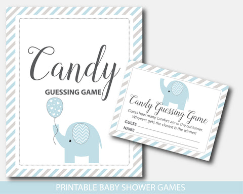 Blue and gray elephant baby shower candy guessing game, BE8-16