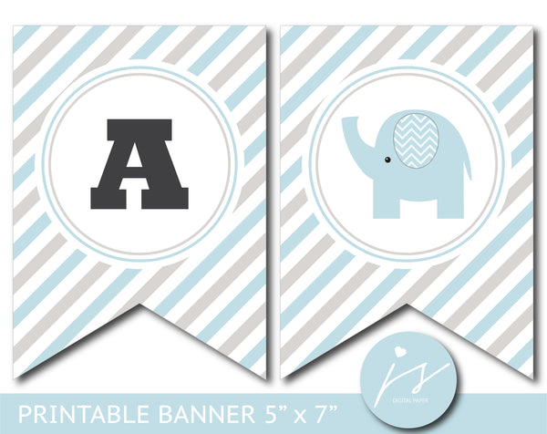 Blue and gray elephant baby shower and birthday bunting banner, BE8-19