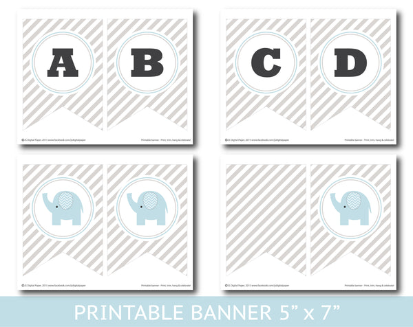 Gray striped elephant baby shower and birthday banner, BE8-20