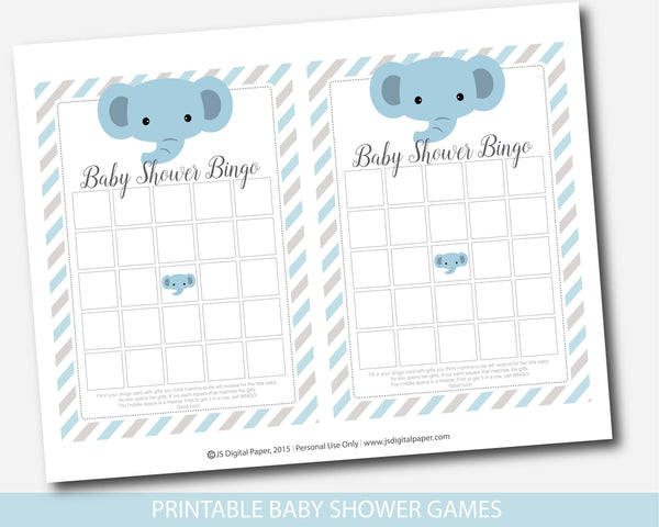 Printable elephant baby shower bingo game in blue and gray stripes, BE9-02
