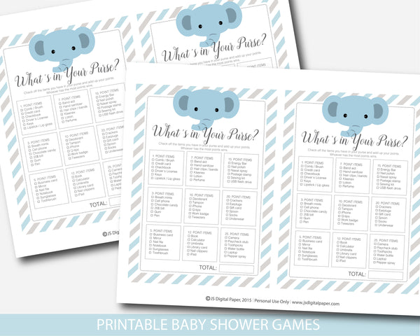 Elephant baby shower what´s in your purse game with blue and gray stripes, BE9-06