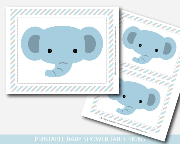 Elephant baby shower table signs and decorations in blue and gray stripes, BE9-07