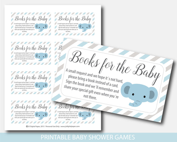 Elephant baby shower books for the baby invitation inserts in blue and gray stripes, BE9-09