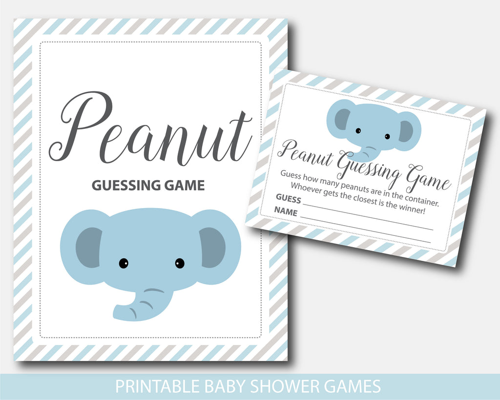 Elephant baby shower peanut guessing game in blue and gray stripes, BE9-14