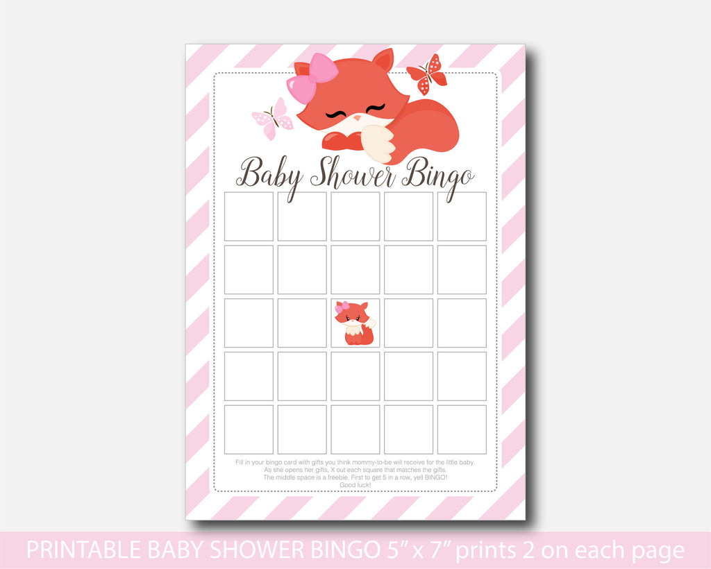 Fox Baby Shower Bingo Cards, Fox Baby Bingo, Fox Bingo Cards, Woodland Bingo