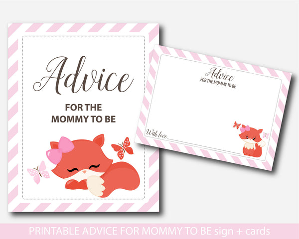 Woodland advice for mommy to be cards with sign, Fox baby shower advice for the new mom to be, Well wishes for mom, Baby advice game, BF1-09