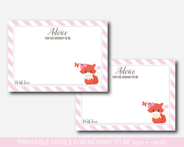 Pink woodland advice for mommy to be cards with sign, Fox baby shower advice for the new mom to be, BF1-09