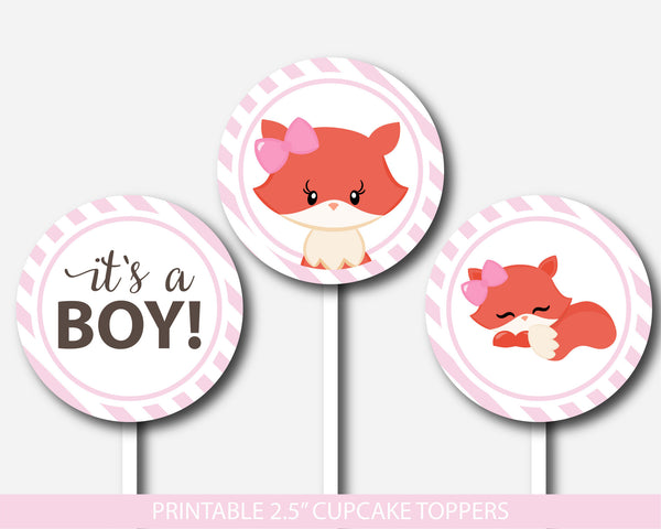 Fox cupcake toppers, Woodland cupcake toppers, Printable cupcake decorations for baby shower, Forest animal cupcake topper, BF1-11