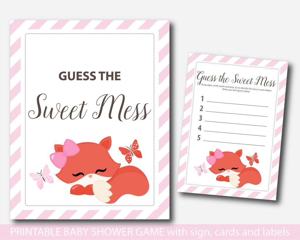 Woodland dirty diapers baby shower game, Fox guess the sweet mess, Fox baby shower dirty diaper game, Diaper game card & sign, BF1-12
